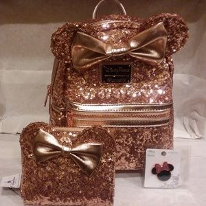 Disney Minnie Mouse Rose Gold Ears Backpack Bundle